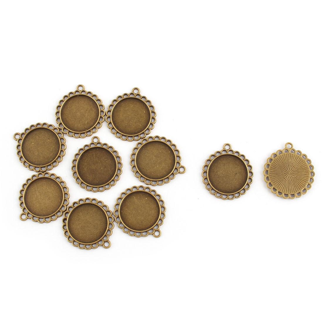Jewelry Copper Alloy Decoration Vintage Style Pendant Trays Bronze Tone 20mm Inner Dia 10pcs