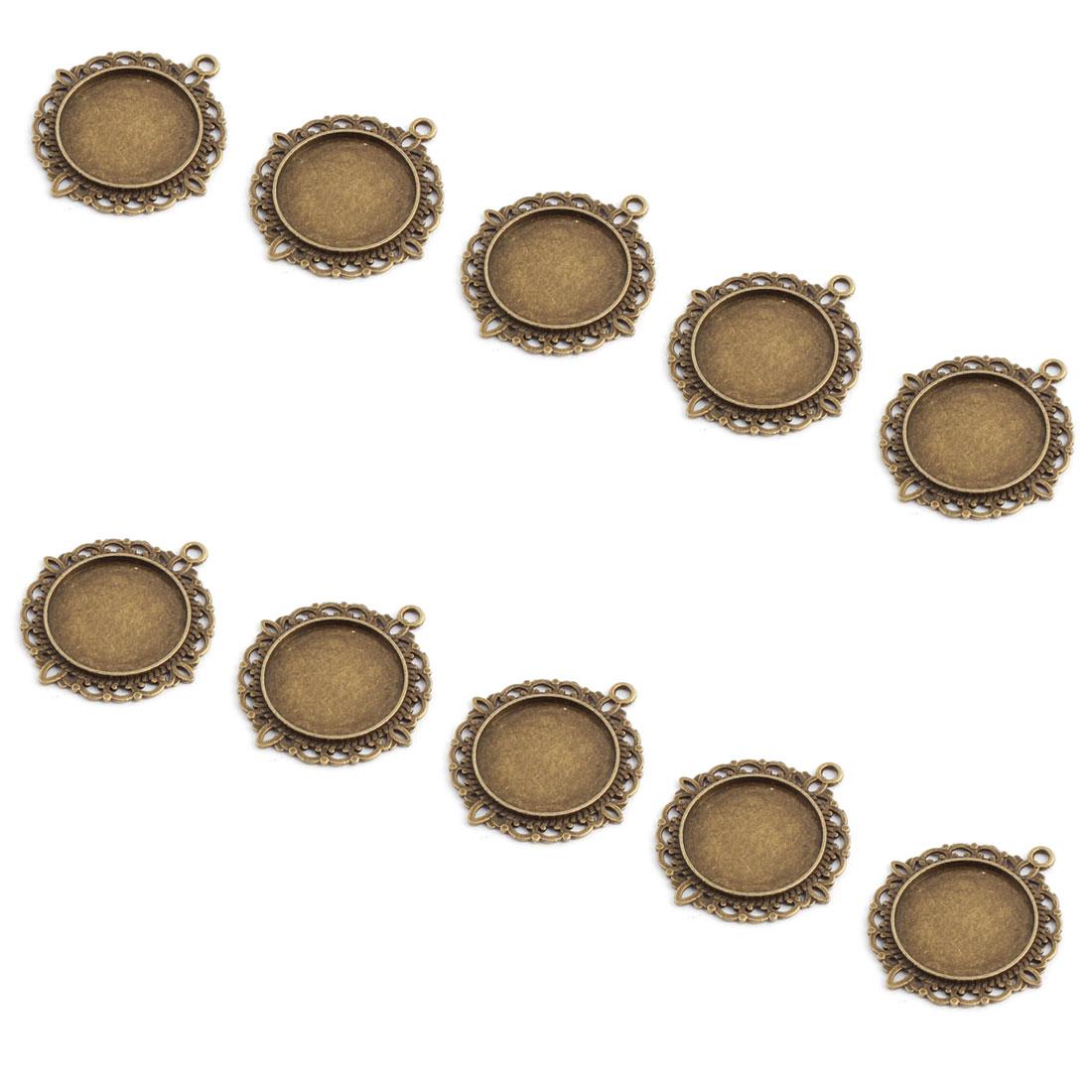 Photo Jewelry Copper Alloy Vintage Style Pendant Trays Bronze Tone 20mm Inner Dia 10pcs