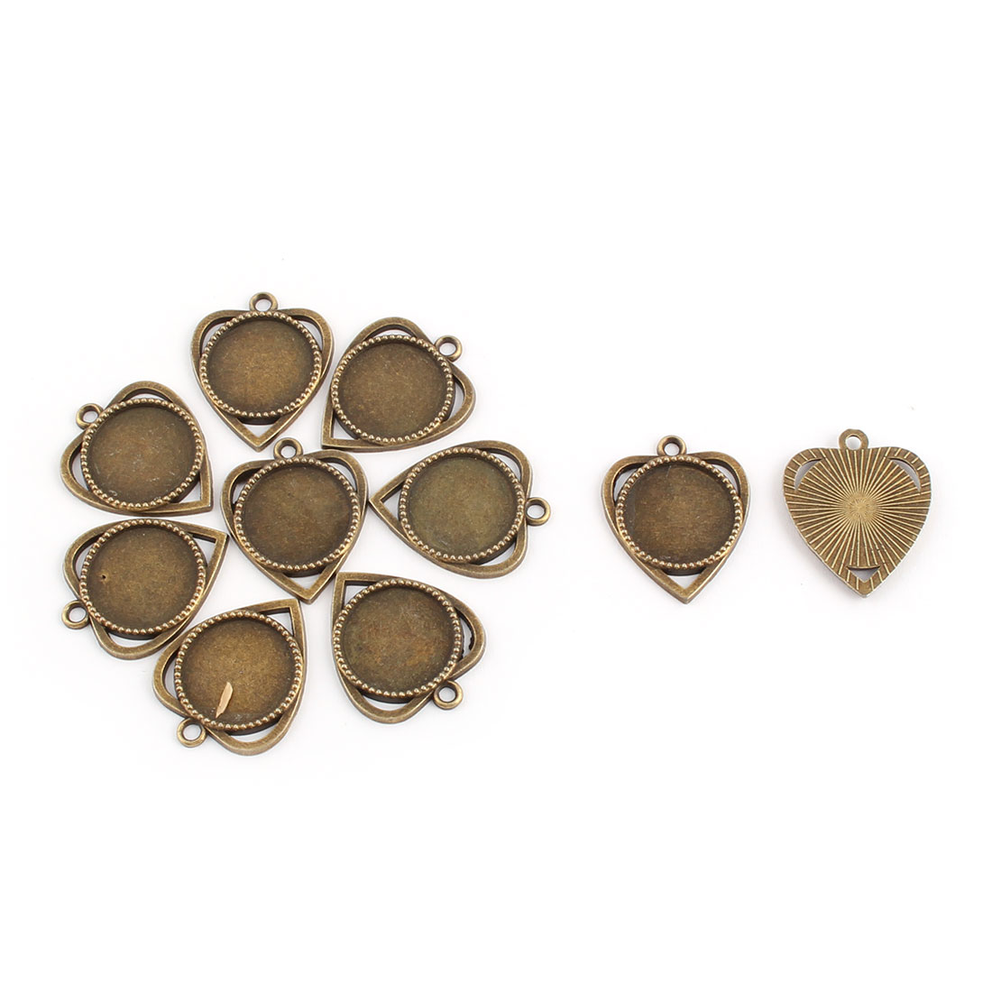 Jewelry DIY Copper Alloy Heart Design Retro Style Pendant Trays 18mm Dia 10pcs