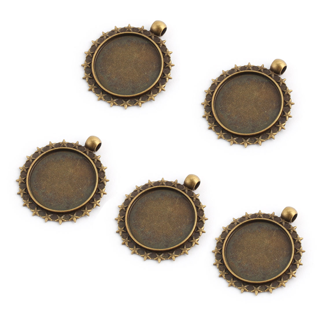 Jewelry Copper Alloy Star Rim Vintage Style Pendant Trays Bronze Tone 25mm Inner Dia 5pcs