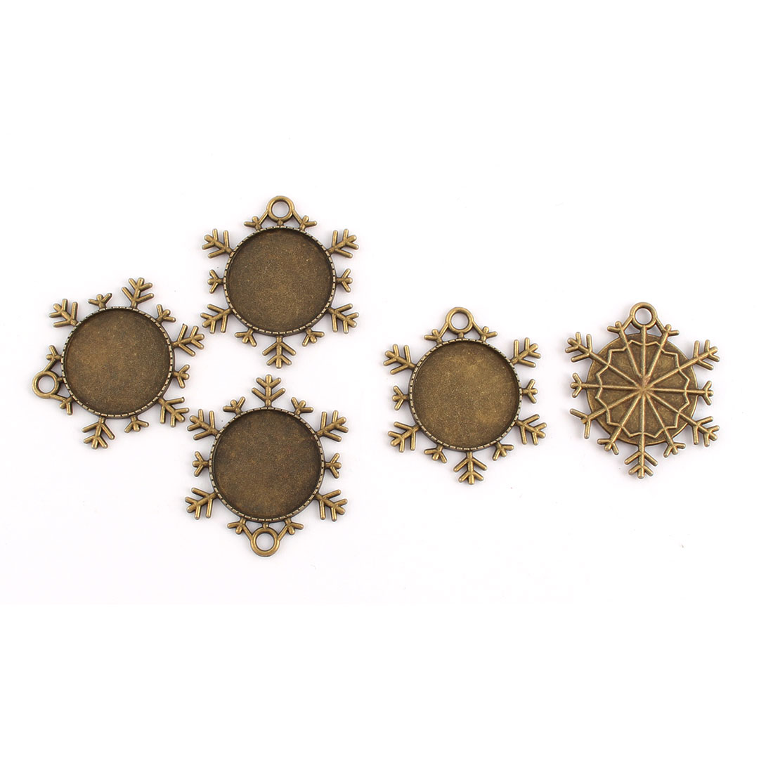 Jewelry Copper Alloy Snowflake Shaped Vintage Style Pendant Trays Bronze Tone 25mm Inner Dia 5pcs