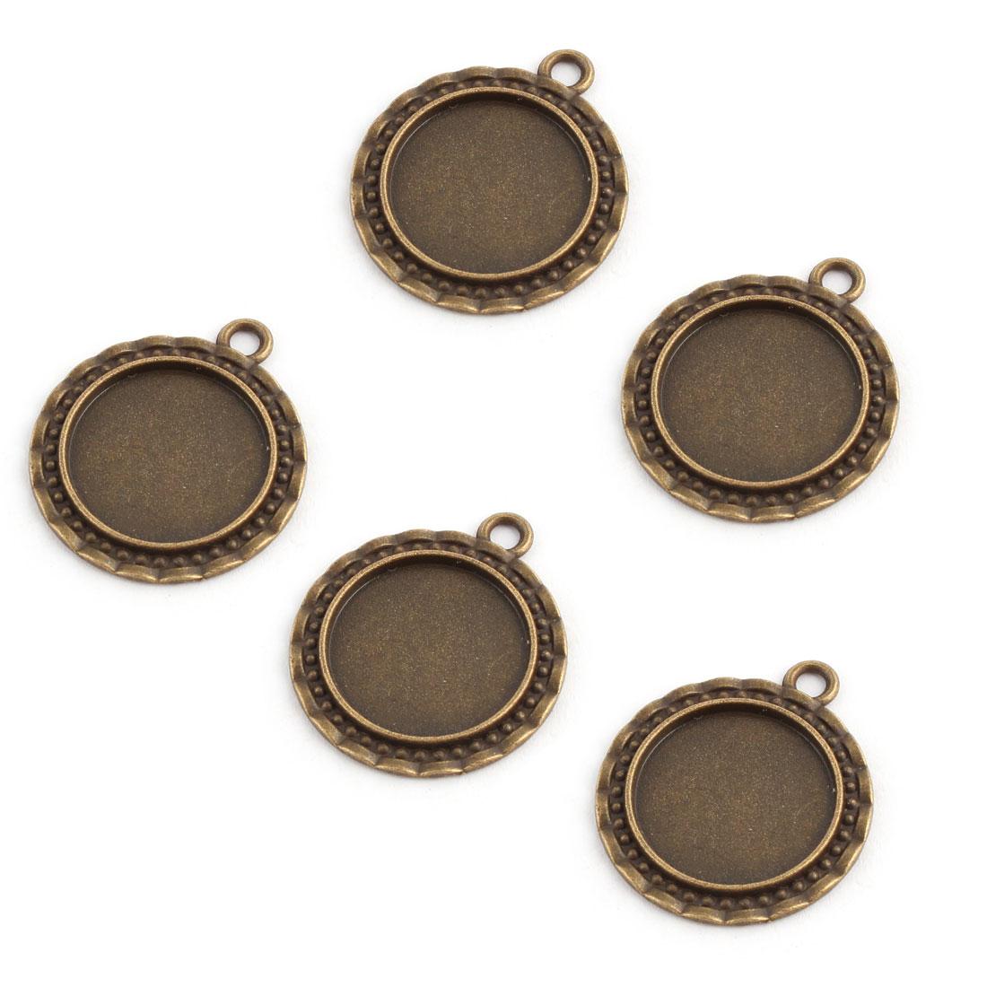 Photo Jewelry Copper Alloy Retro Style Cameos Bezel Pendant Trays Ornament Bronze Tone 20mm Inner Dia 5pcs