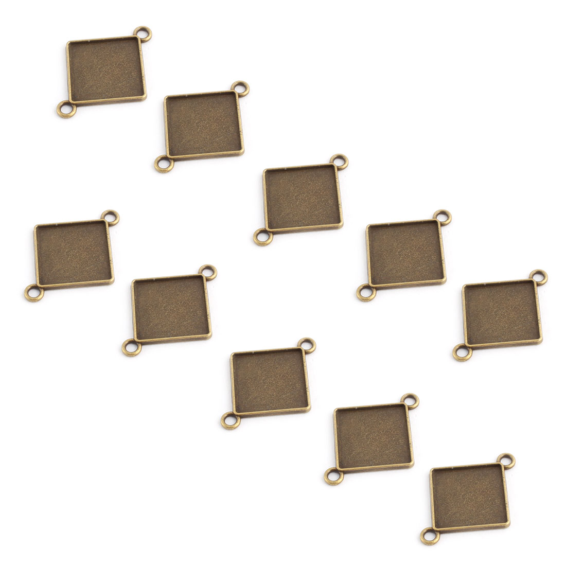 Home Copper Alloy Double Holes Square Pendant Trays Bronze Tone 20mm Inner Dia 10 Pcs