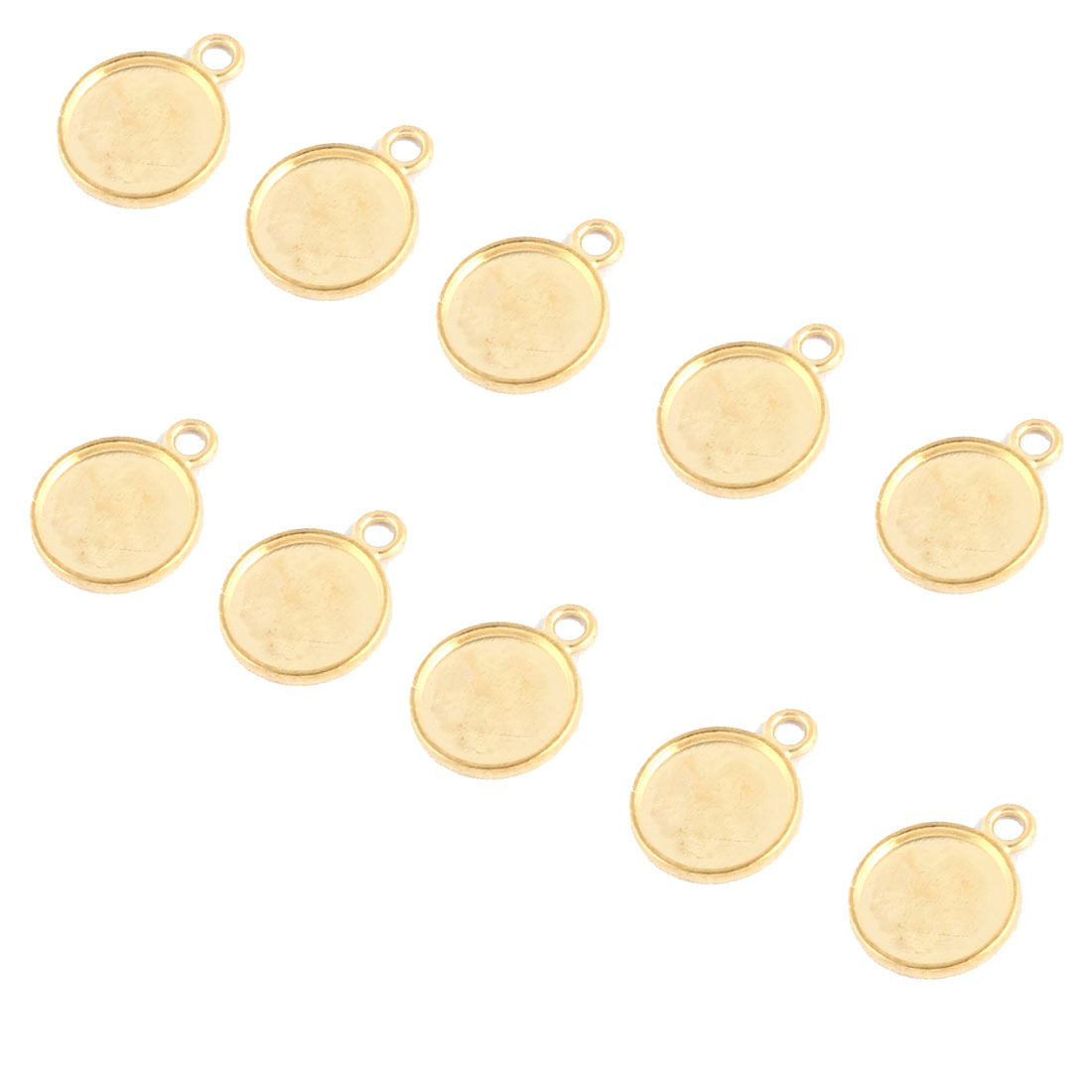 Household Copper Alloy DIY Retro Style Round Pendant Trays Gold Tone 14mm Inner Dia 10 Pcs
