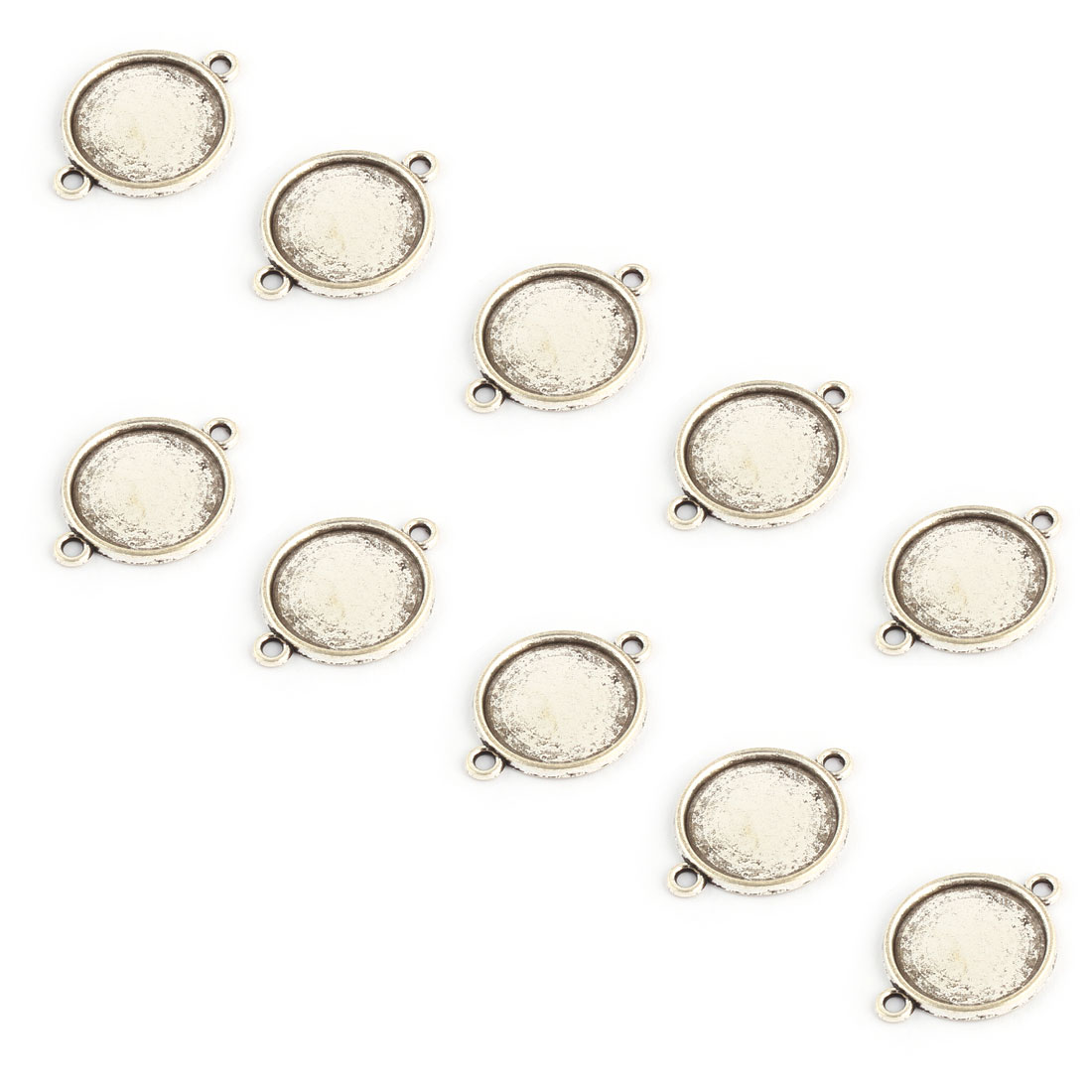 Home Copper Alloy Double Holes Pendant Trays Silver Tone 16mm Inner Dia 10 Pcs