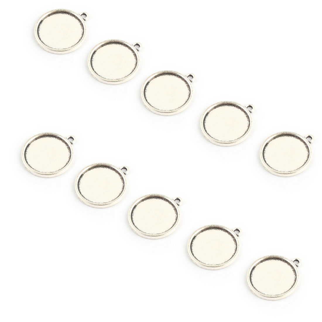 Household Copper Alloy DIY Retro Style Round Pendant Trays Silver Tone 18mm Inner Dia 10 Pcs