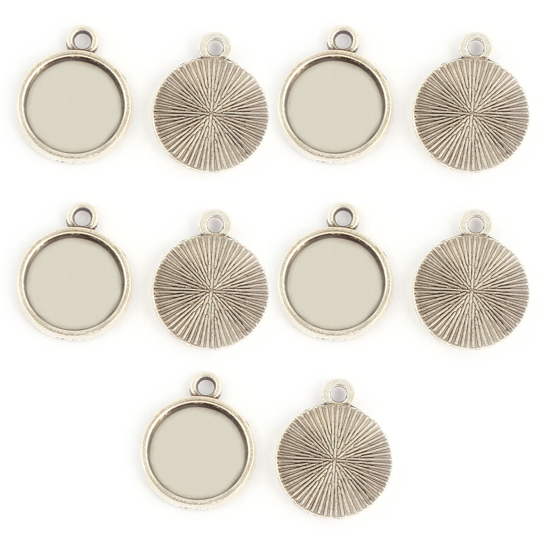 Household Copper Alloy DIY Retro Style Round Pendant Trays Silver Tone 12mm Inner Dia 10 Pcs