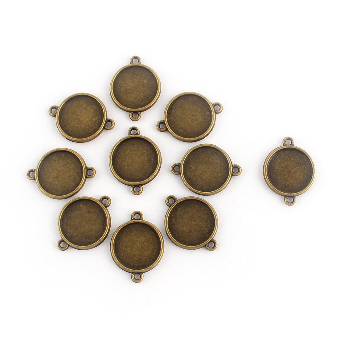 Home Copper Alloy DIY Ornament Retro Style Round Pendant Trays Brass Tone 16mm Inner Dia 10 Pcs