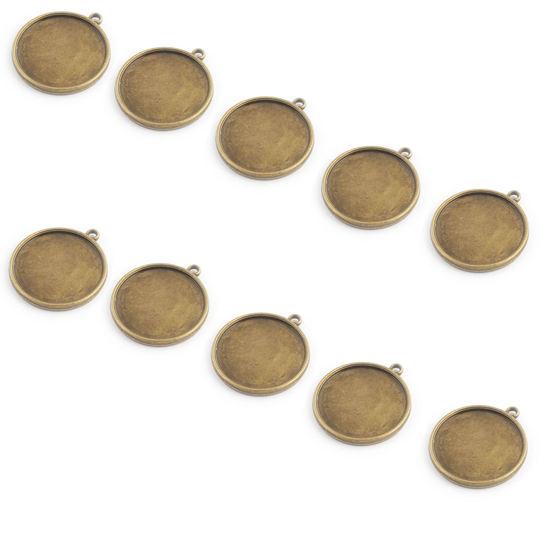 Household Copper Alloy DIY Double Sided Round Pendant Trays Bronze Tone 25mm Inner Dia 10 Pcs