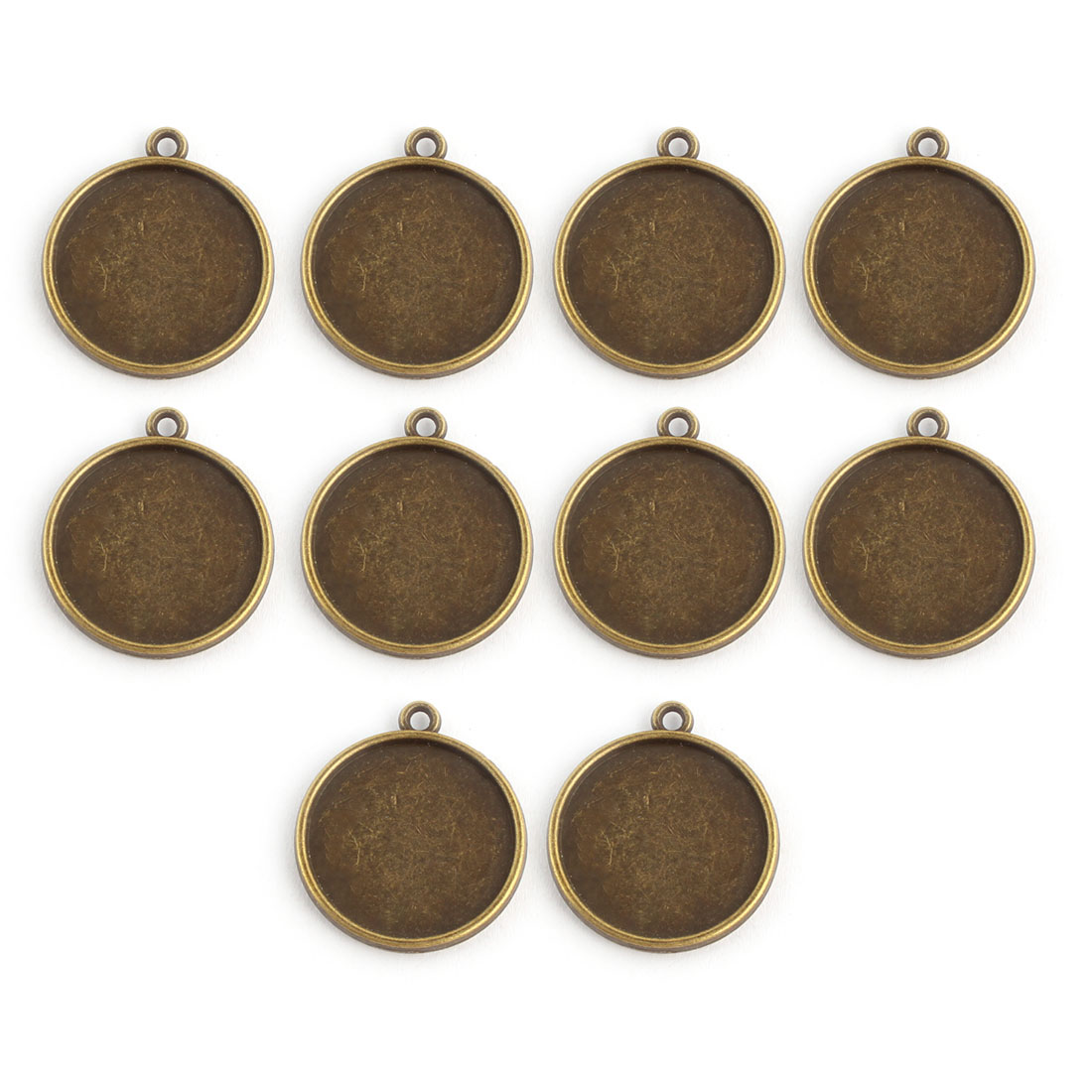 Household Copper Alloy DIY Double Sided Round Pendant Trays Brass Tone 20mm Inner Dia 10 Pcs