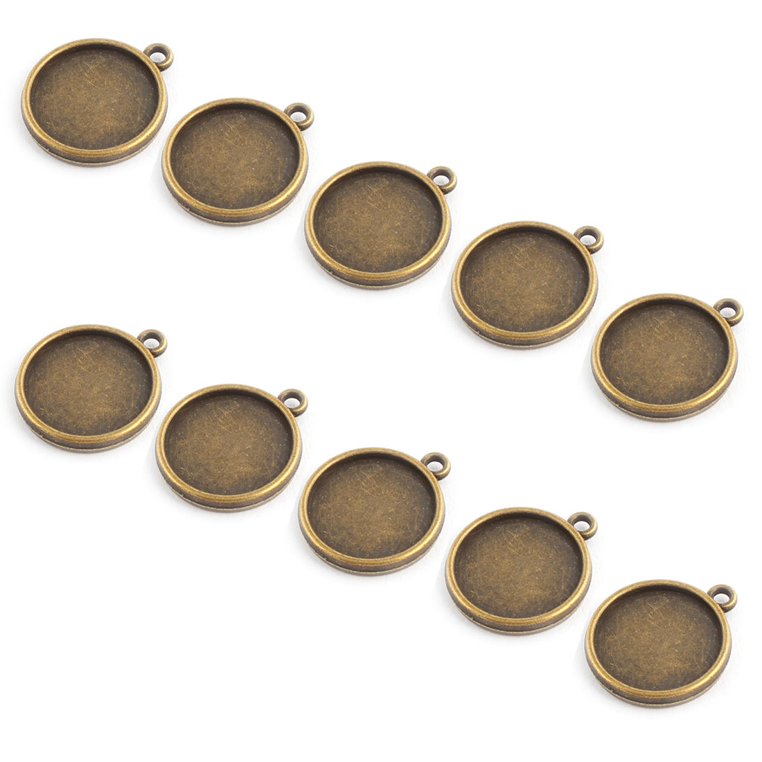 Household Copper Alloy DIY Double Sided Round Pendant Trays Bronze Tone 16mm Inner Dia 10 Pcs