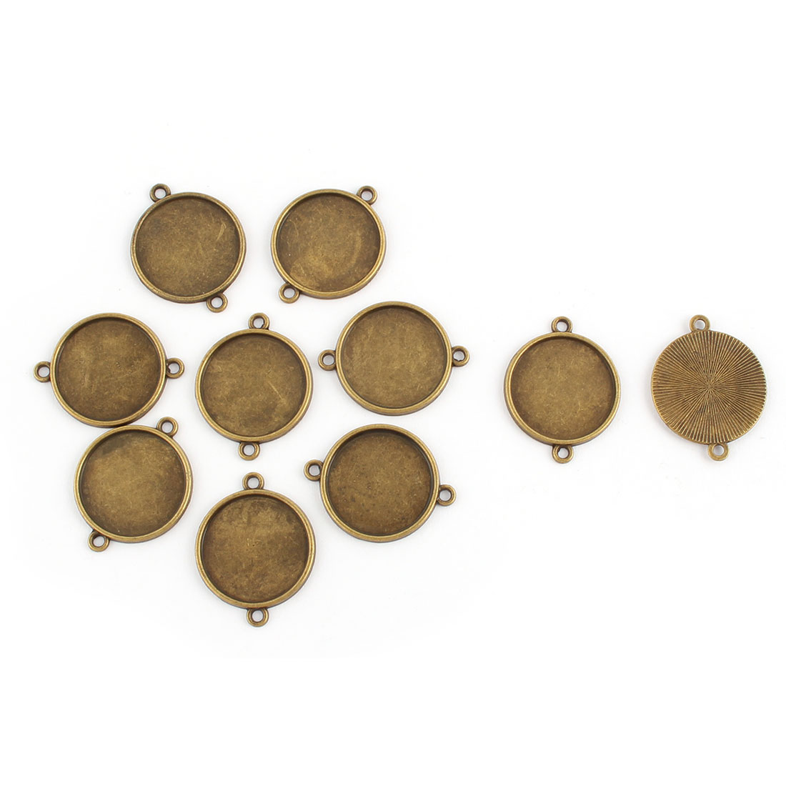 Jewelry DIY Copper Alloy Double Holes Retro Style Cameos Bezel Pendant Trays Adornment Bronze Tone 20mm Inner Dia 10pcs
