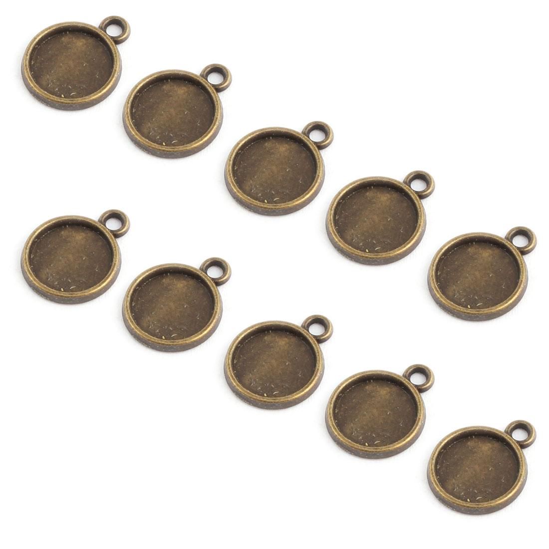 Household Copper Alloy DIY Retro Style Round Pendant Trays Bronze Tone 10mm Inner Dia 10 Pcs