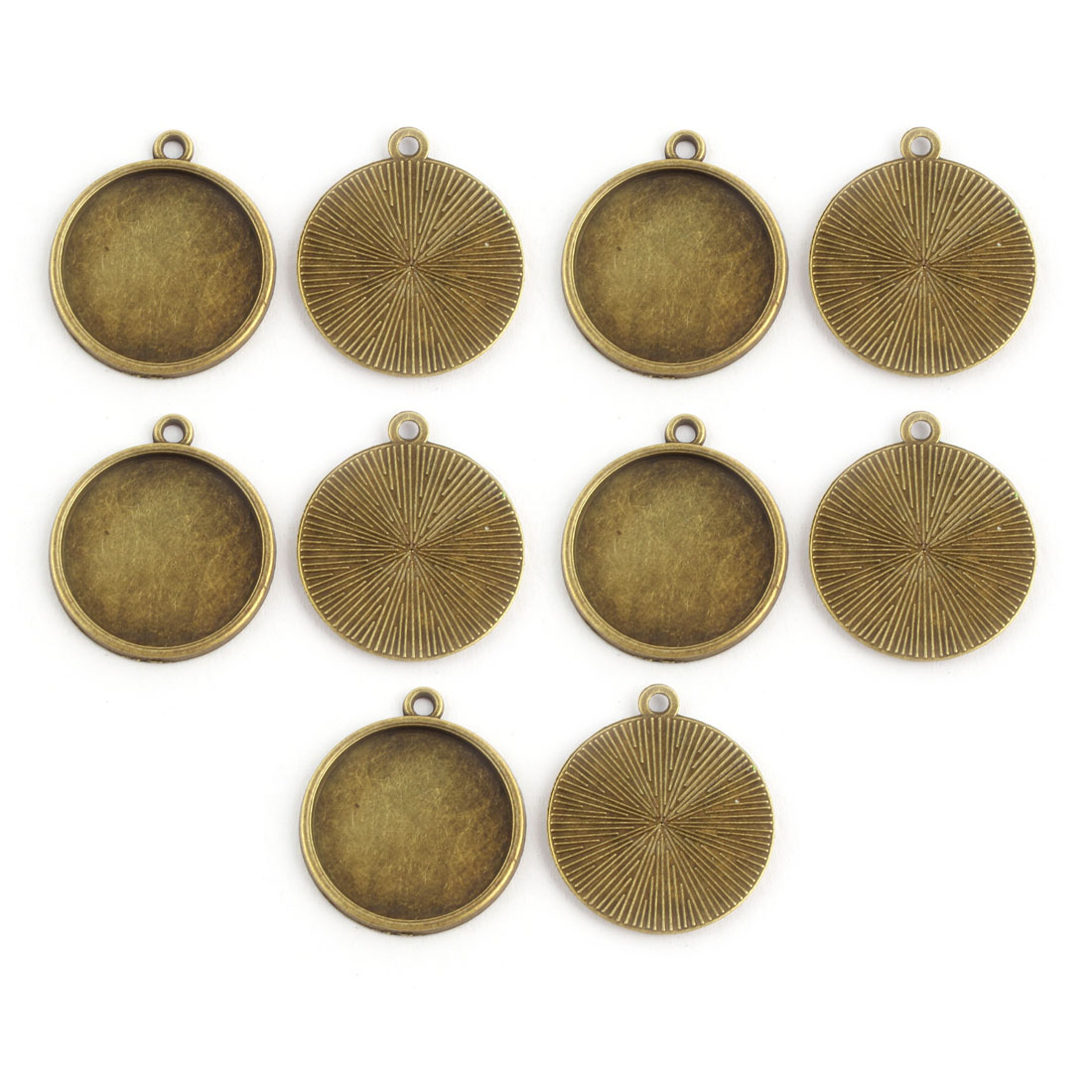 Household Copper Alloy DIY Jewelry Round Pendant Trays Brass Tone 20mm Inner Dia 10 Pcs