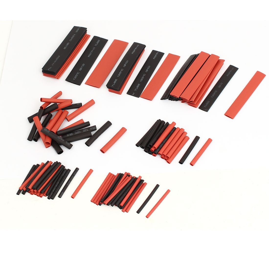 Insulated Heat Shrink Tube Sleeving Wrap Wire Kit 7 Sizes Black Red 127pcs