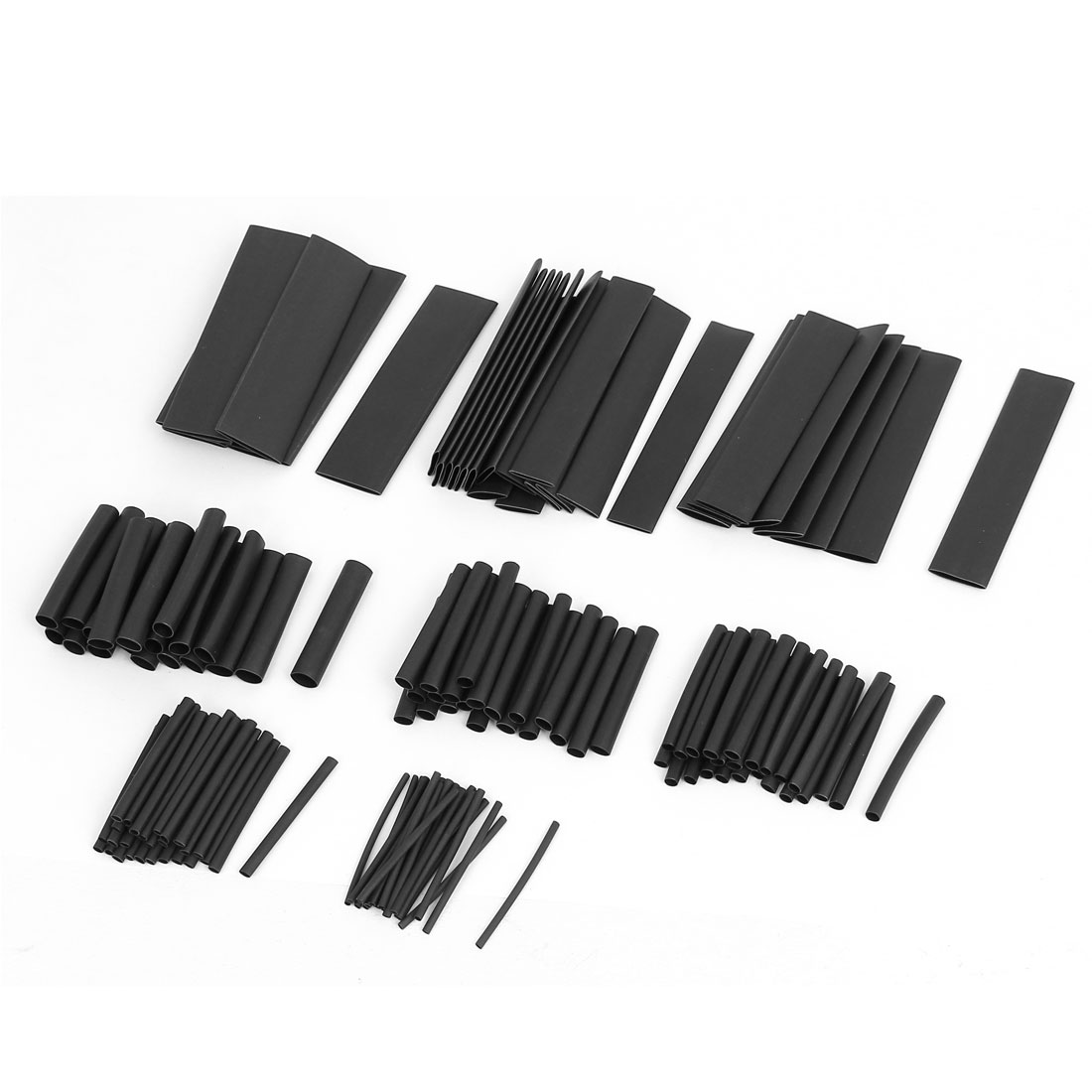 Eight Assorted Sizes Heat Shrink Tube Sleeving Wrap Wire Kit Black 150pcs