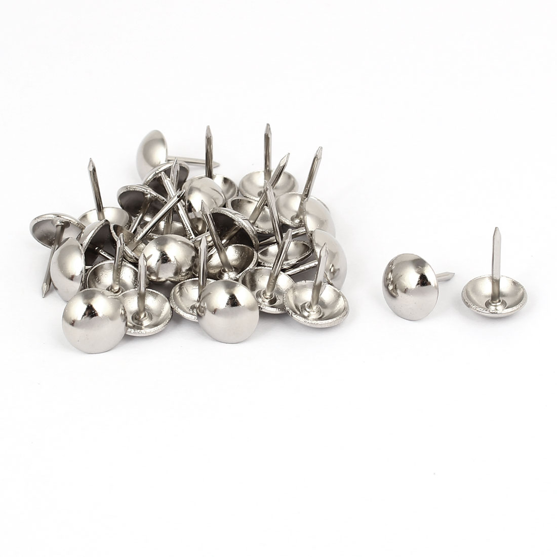 "Home Metal Round Domed Head Upholstery Tack Nail Silver Tone 7/16"" Dia 30pcs"