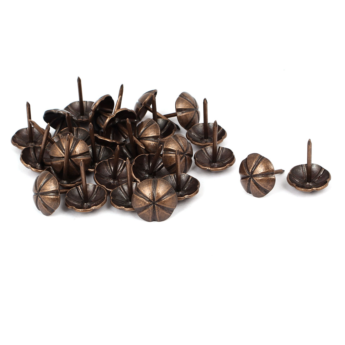 16mm Dia Metal Round Domed Head Upholstery Tack Push Nail Copper Tone 30pcs