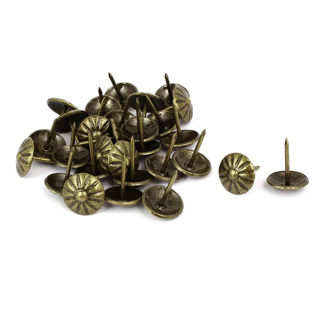 Home Metal Round Head Upholstery Tack Push Nail Bronze Tone 16mm Dia 30pcs