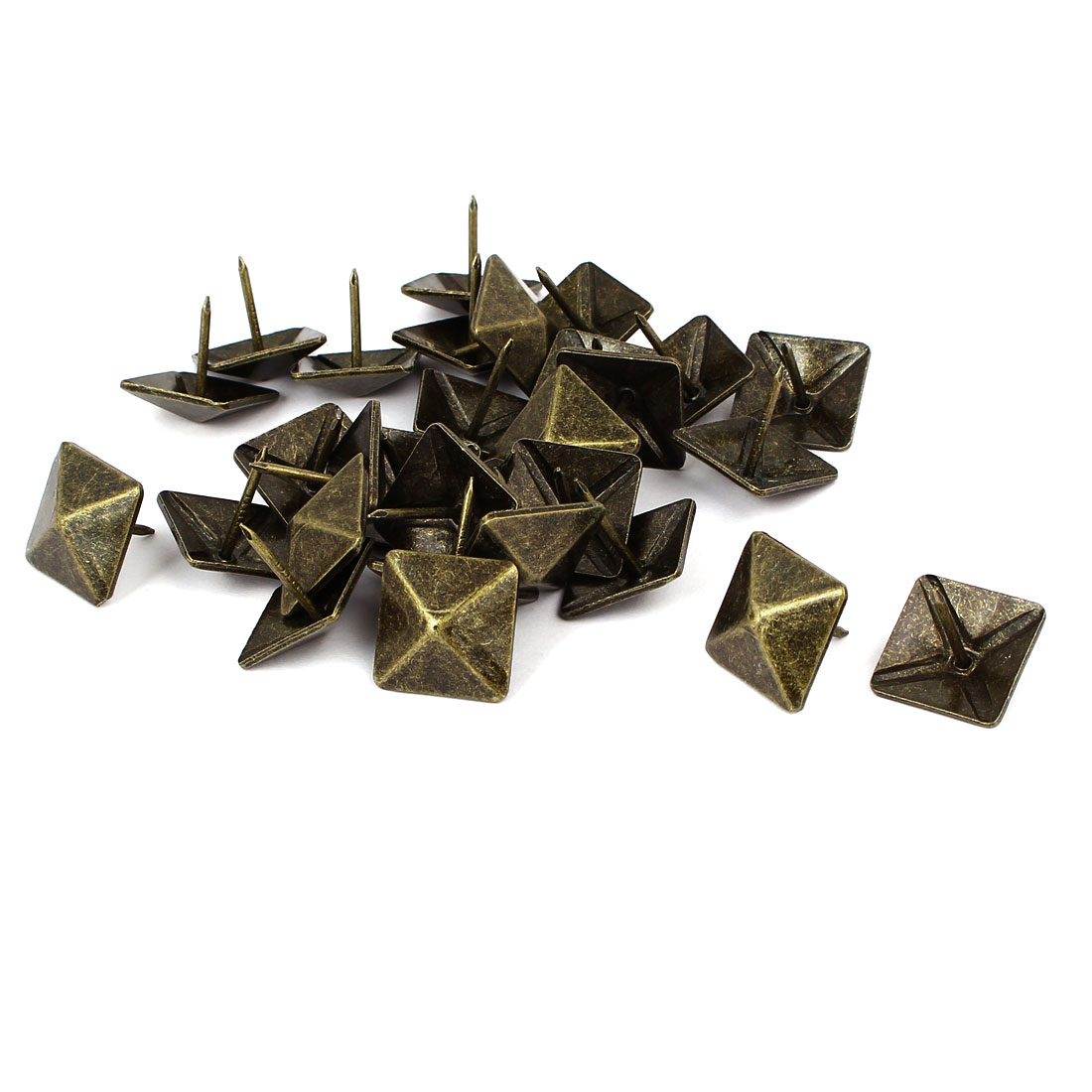 Household Metal Square Head Upholstery Tack Nail Bronze Tone 19mmx19mm 30pcs