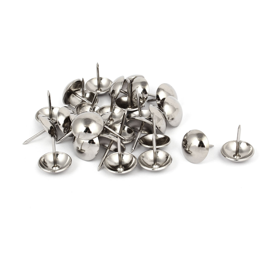 Home Metal Round Domed Head Upholstery Tack Nail Silver Tone 19mm Dia 30pcs