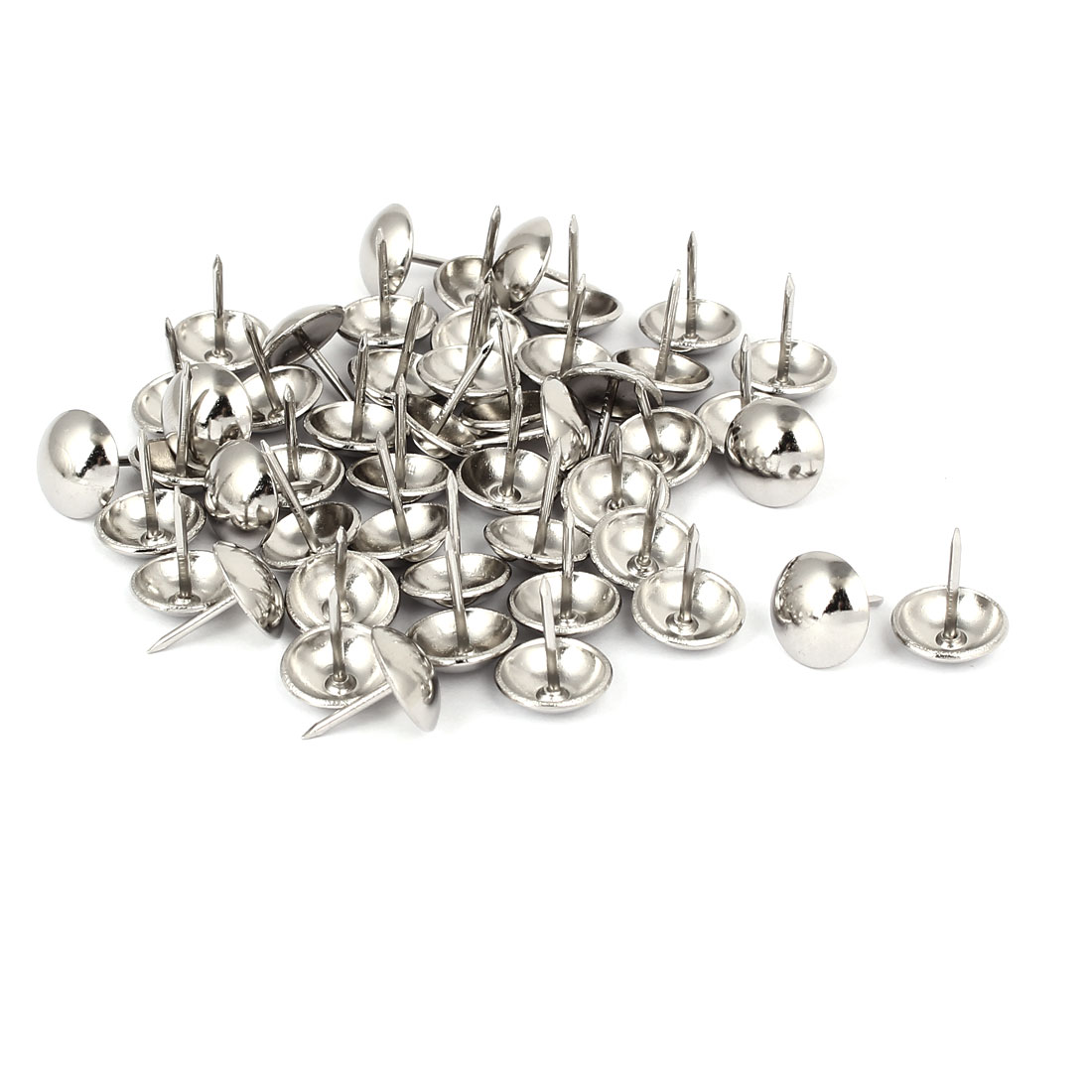 Home Metal Round Domed Head Upholstery Tack Nail Silver Tone 14mm Dia 50pcs