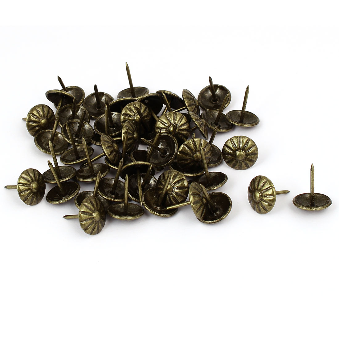 Home Metal Round Head Upholstery Tack Push Nail Bronze Tone 16mm Dia 50pcs