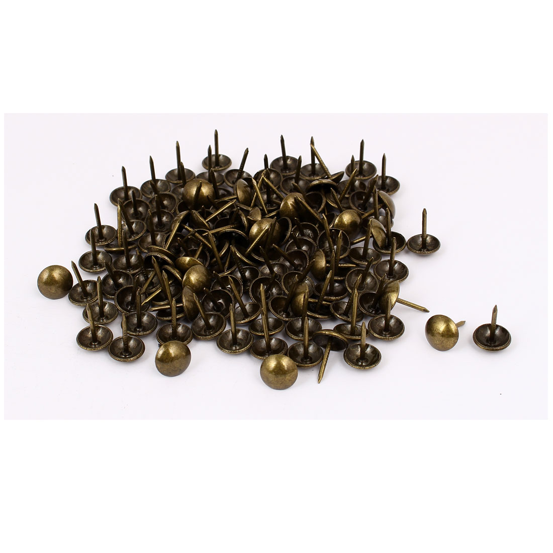 "Household Metal Domed Head Upholstery Tack Nail Bronze Tone 7/16"" Dia 100pcs"