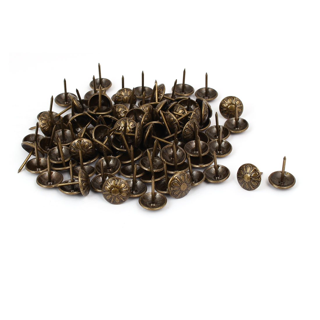 Household Metal Round Head Upholstery Tack Nail Bronze Tone 16mm Dia 100pcs