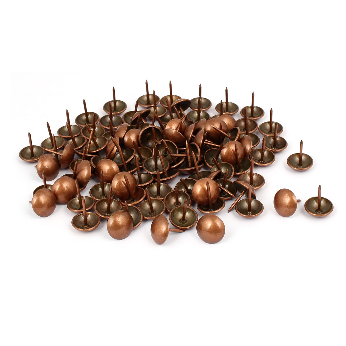 Metal Upholstery Tack Push Nail Copper Tone 16mm Dia 100pcs for Furniture Decor