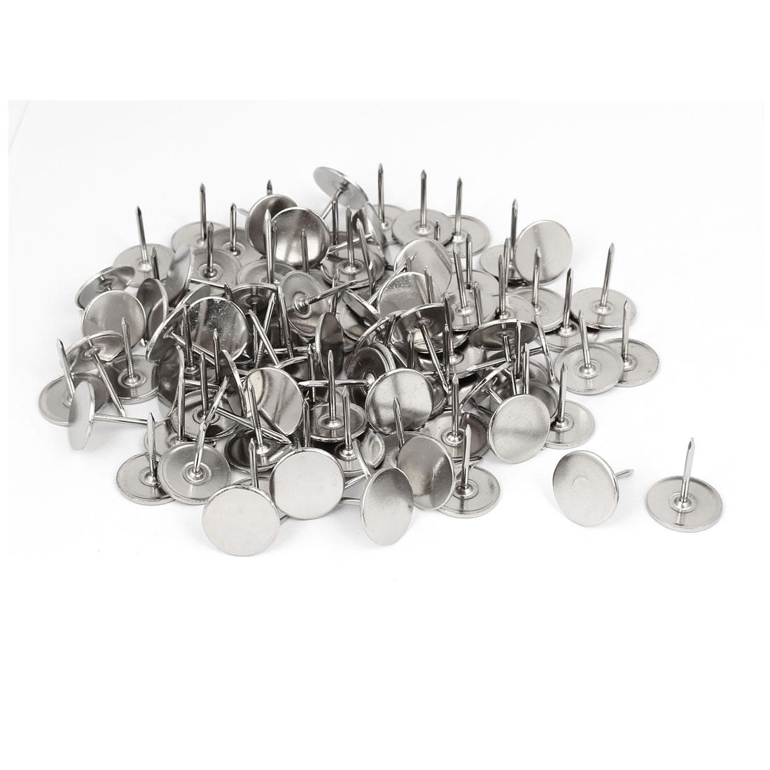 Furniture Metal Round Flat Head Upholstery Tack Nail Silver Tone 19mm Dia 100pcs