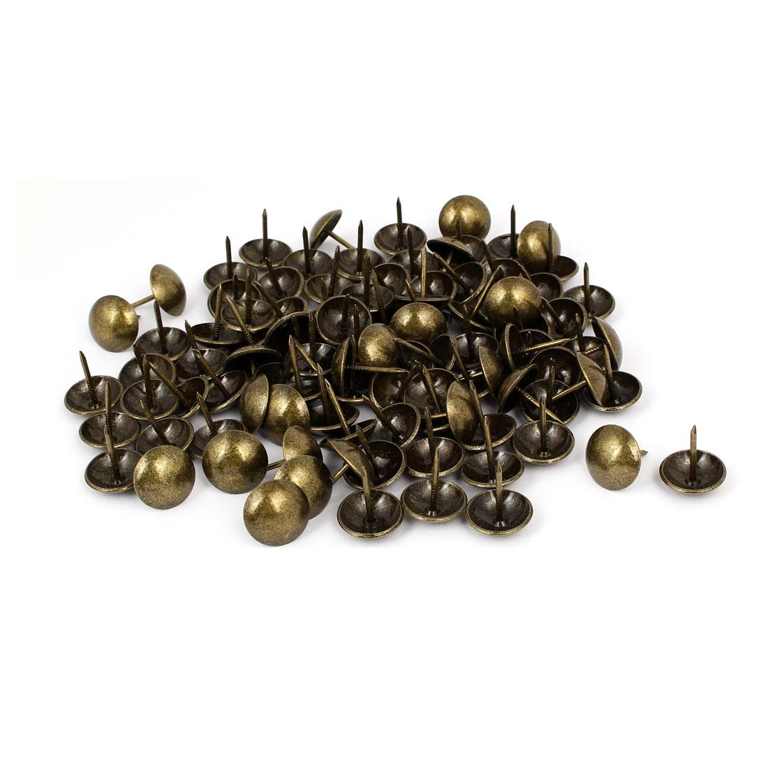 Household Metal Domed Head Upholstery Tack Nail Bronze Tone 19mm Dia 100pcs
