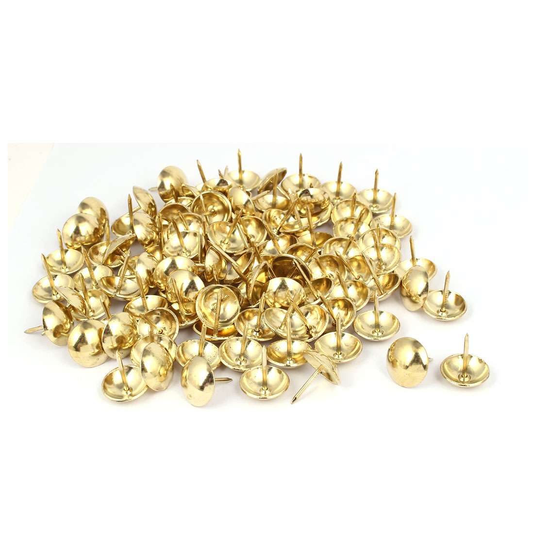 Metal Round Head Upholstery Tack Nail Gold Tone 19mm Dia 100pcs for Home Decor