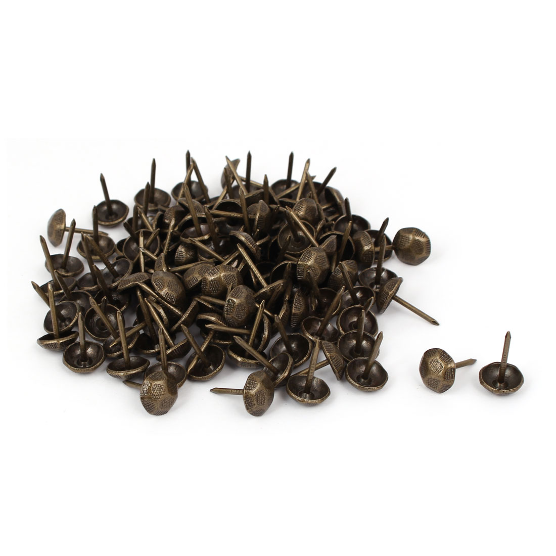 "Home Furniture Metal Round Upholstery Tack Nail Bronze Tone 7/16"" Dia 120pcs"