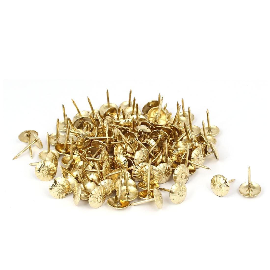 "7/16"" Dia Metal Round Domed Head Upholstery Tack Push Nail Gold Tone 120pcs"