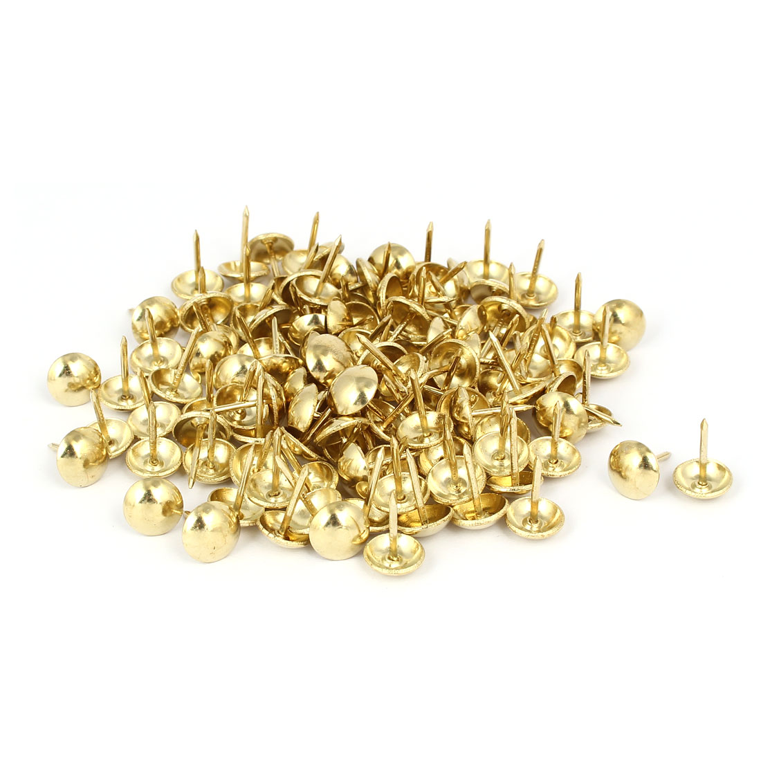 "Metal Round Head Upholstery Tack Nail Gold Tone 7/16"" Dia 120pcs for Home Decor"
