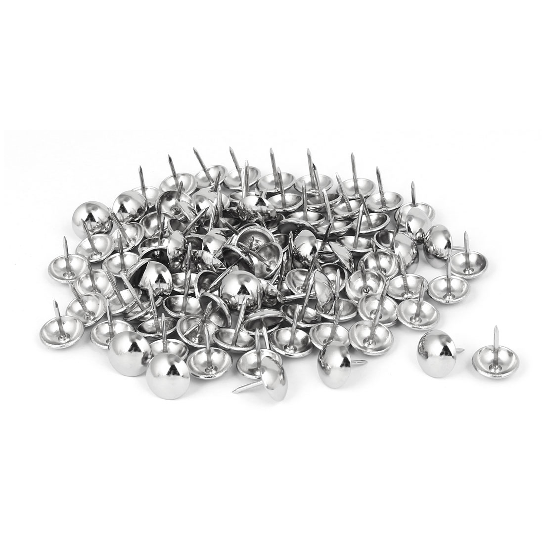 Home Metal Round Domed Head Upholstery Tack Nail Silver Tone 14mm Dia 120pcs