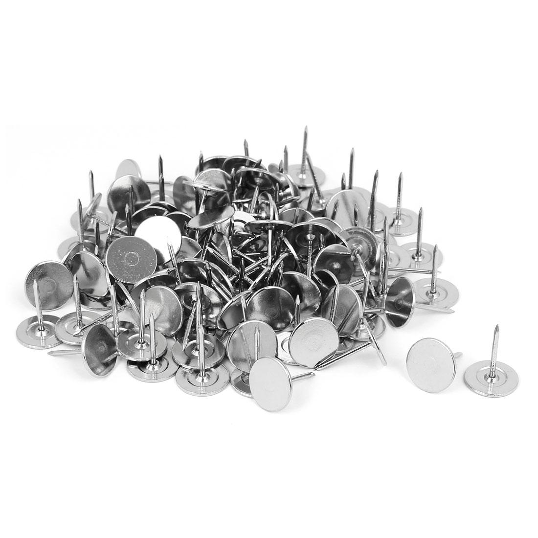 Furniture Metal Round Flat Head Upholstery Tack Nail Silver Tone 15mm Dia 120pcs