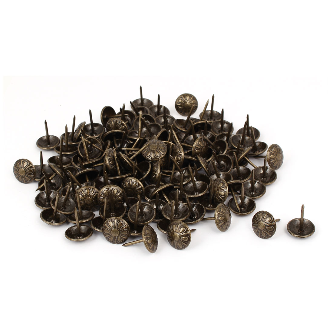 Household Metal Round Head Upholstery Tack Nail Bronze Tone 16mm Dia 120pcs