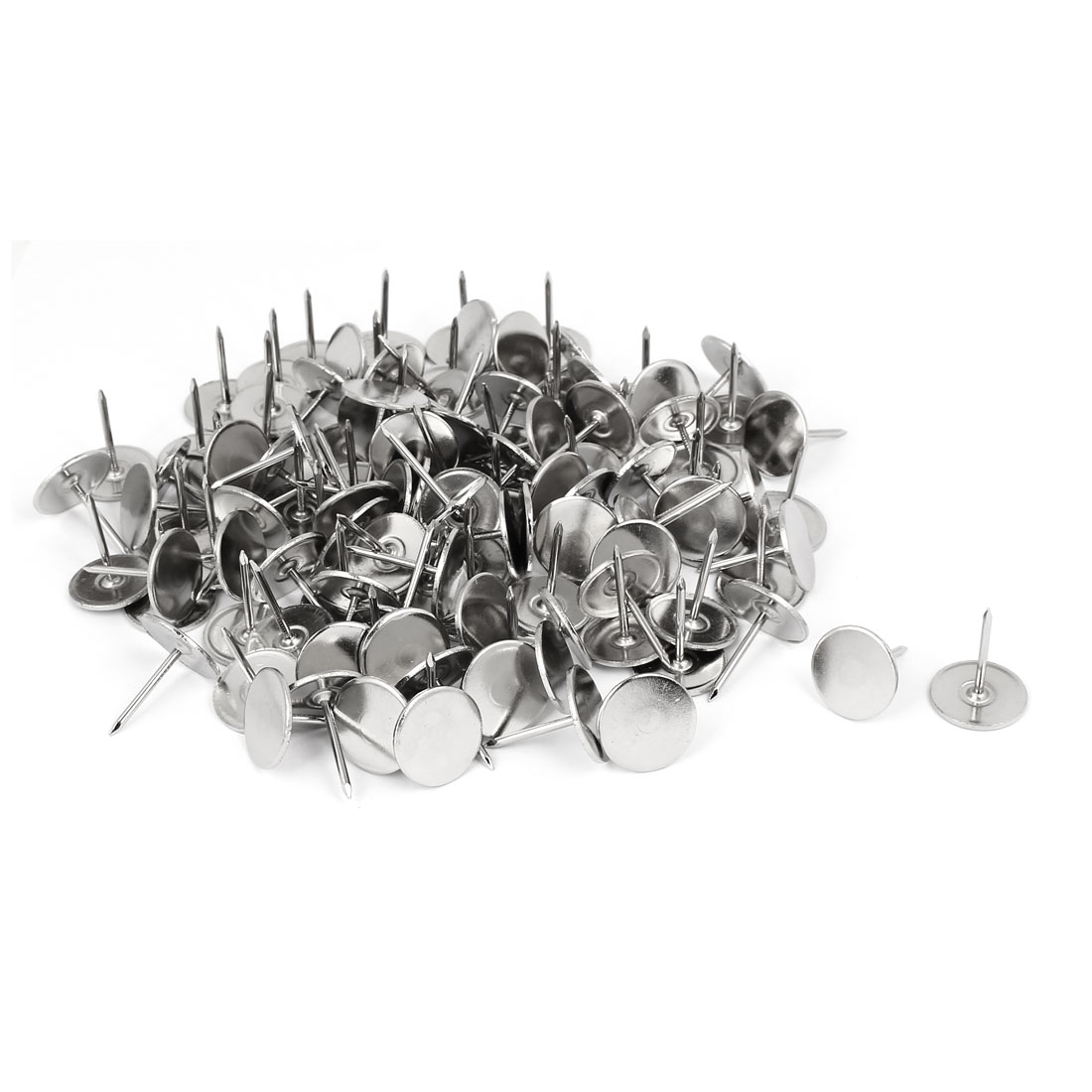Furniture Metal Round Flat Head Upholstery Tack Nail Silver Tone 19mm Dia 120pcs