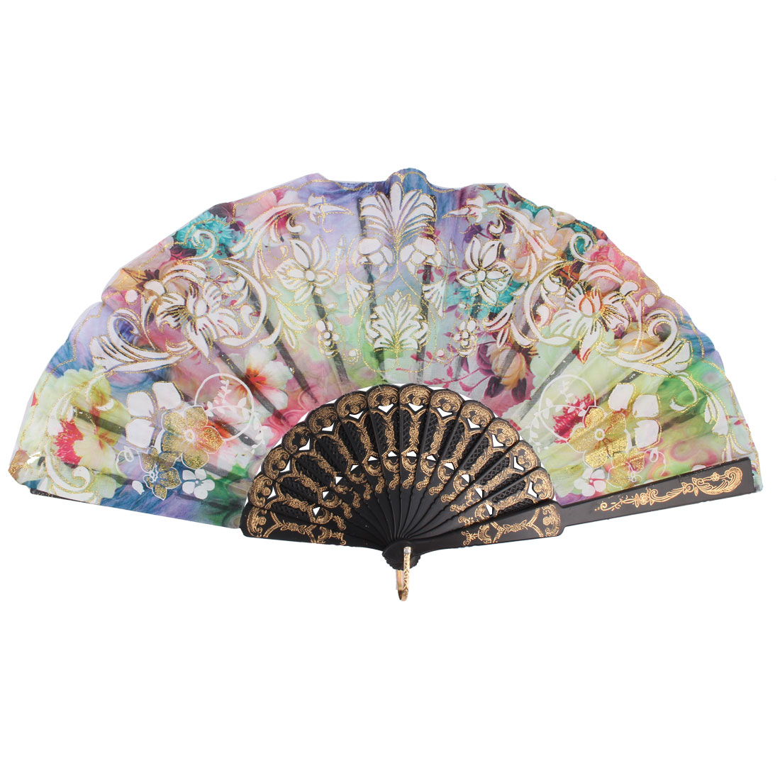 Home Women Plastic Rib Flower Print Chinese Style Hanging Foldable Hand Fan