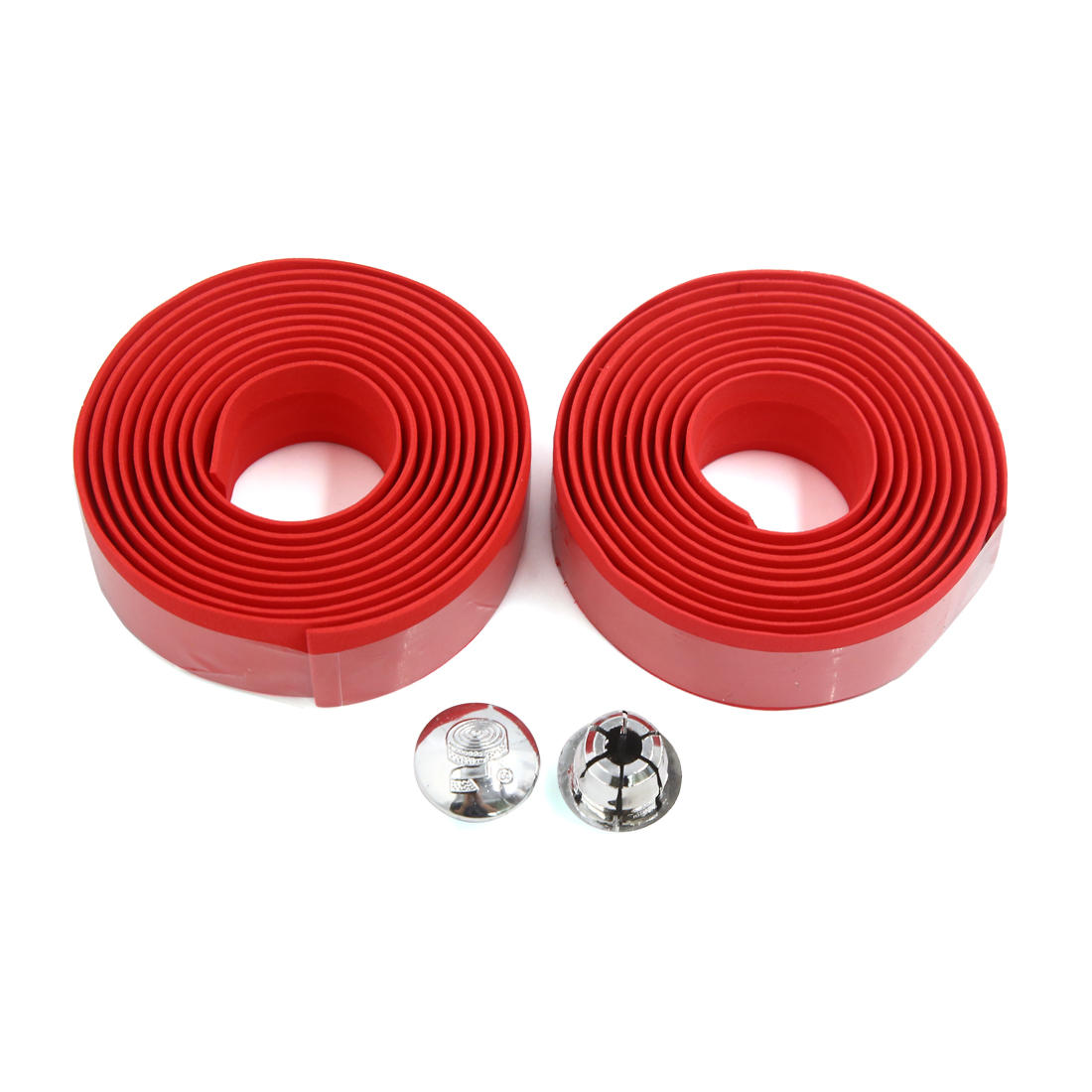 2pcs Lightweight Red Antislip Bike Bicycle Handlebars Tape Wrap w 2 Bar Plugs