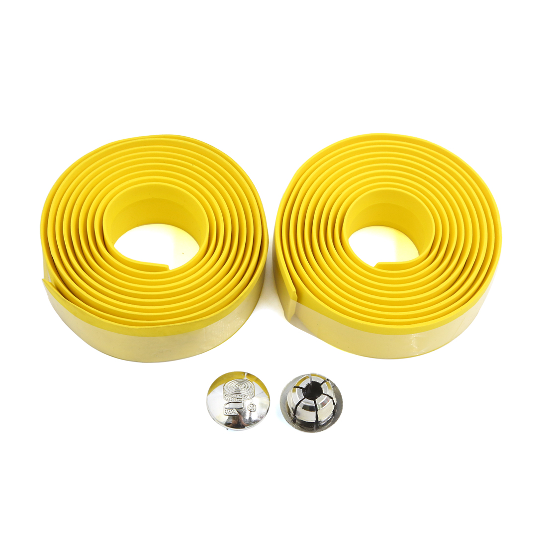 2pcs Lightweight Yellow Bike Bicycle Handlebars Tape Wrap w 2 Bar Connector