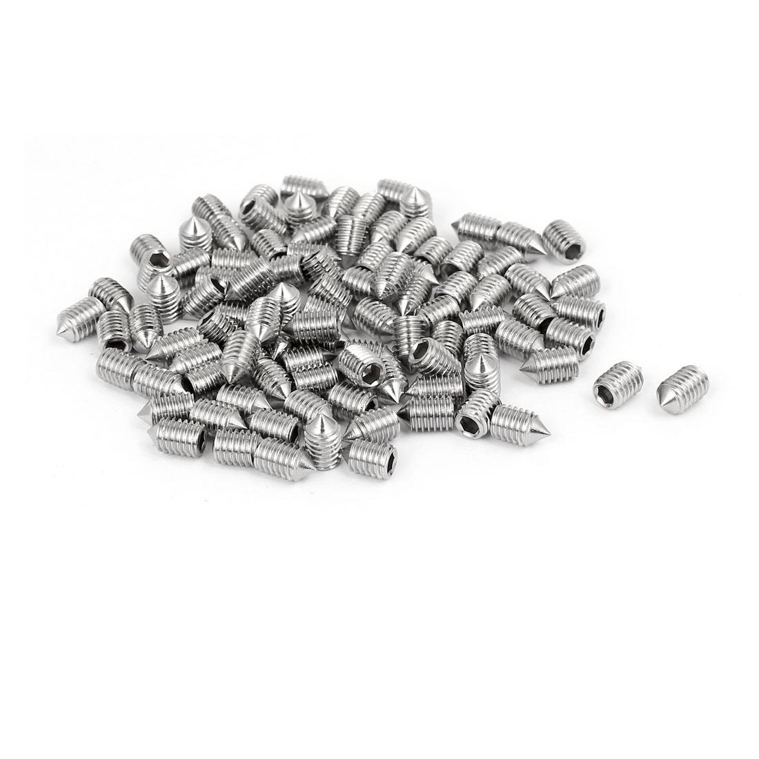 M5x8mm 304 Stainless Steel Hex Socket Cap Head Cone Point Grub Screw 100pcs