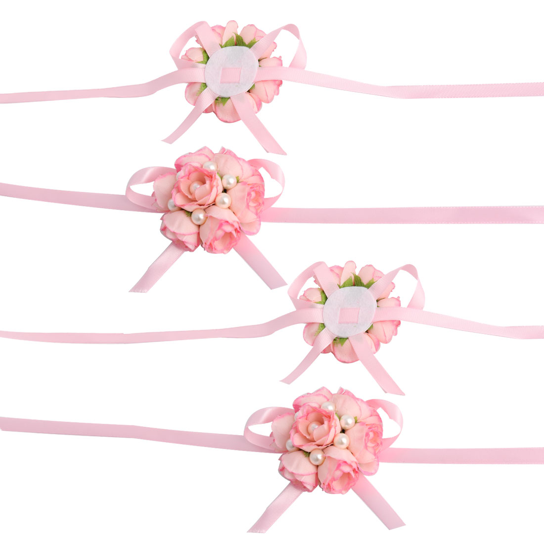 Wedding Party Fabric Rose Shaped Imitation Pearl Decor Wrist Flower Pink 4 Pcs