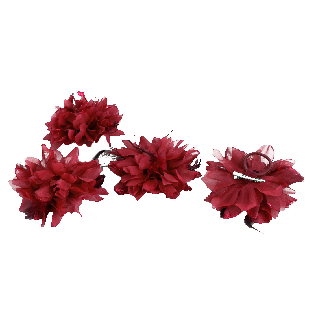 Wedding Fascinator Bridesmaid Hand Hair Decoration Artificial Wrist Flower Red 4 Pcs