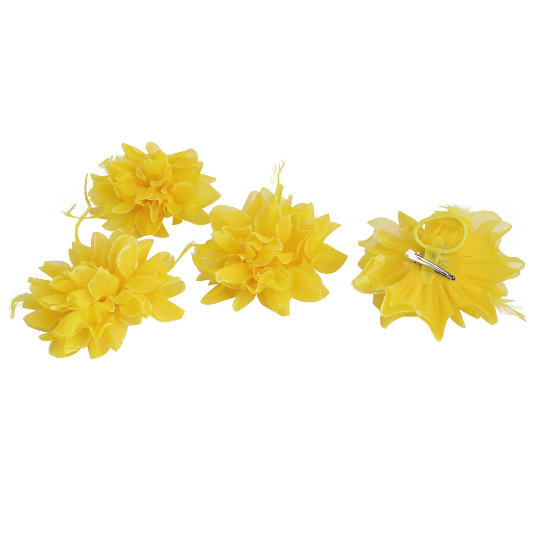 Wedding Fascinator Bridesmaid Hand Hair Decoration Artificial Wrist Flower Yellow 4 Pcs
