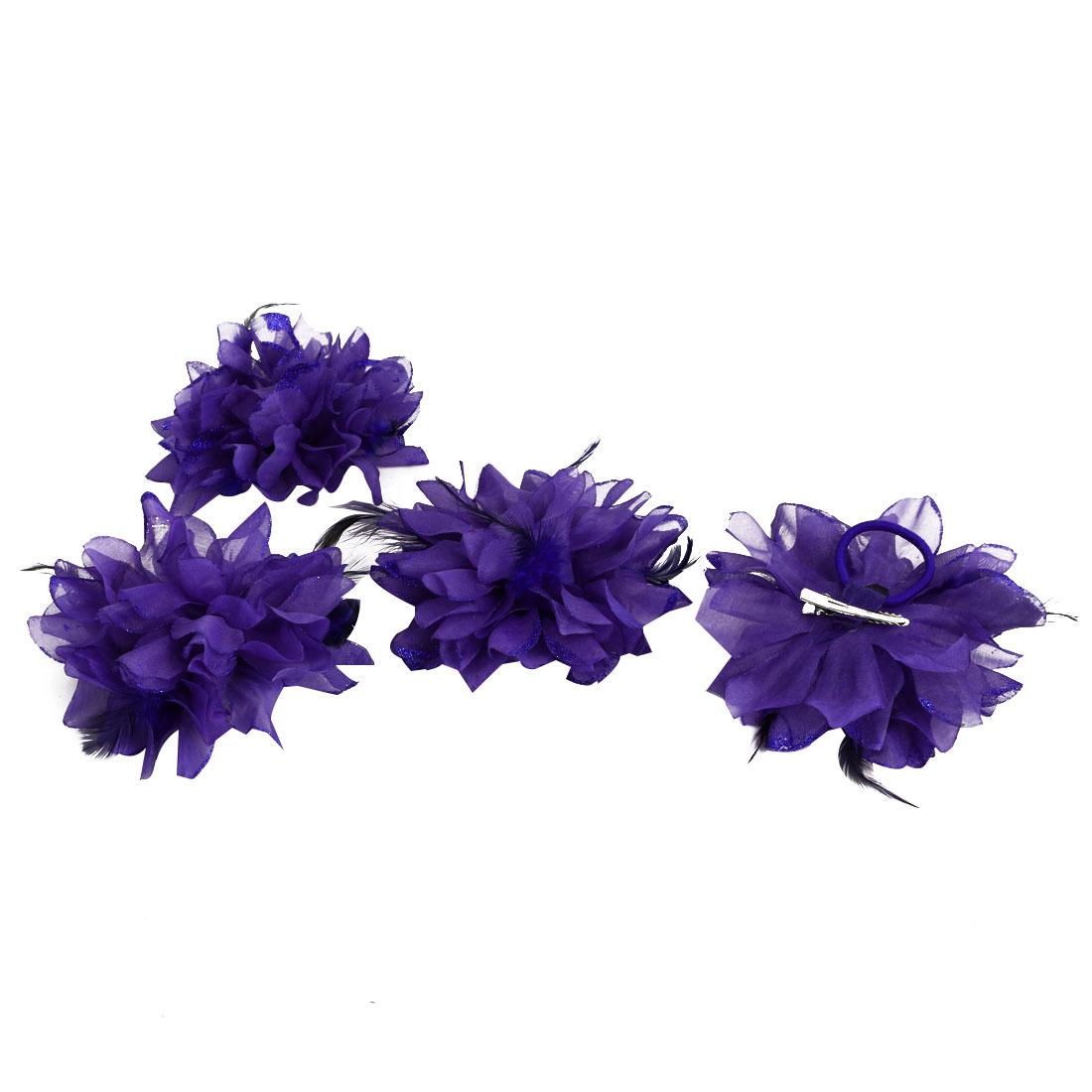 Wedding Fascinator Bridesmaid Hand Hair Decoration Artificial Wrist Flower Purple 4 Pcs