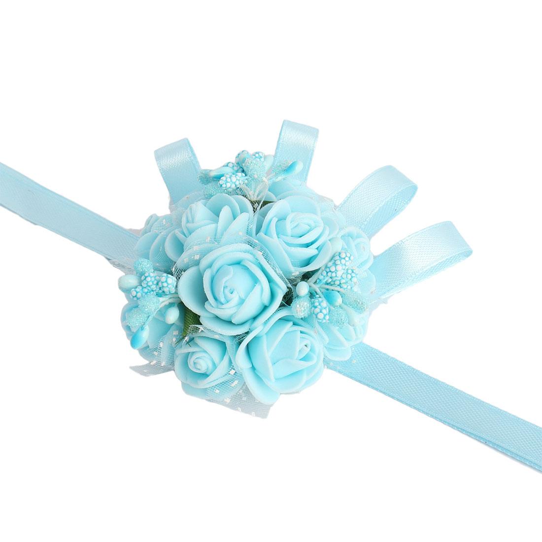 Party Prom Foam Rose Shaped Girl Hand Decor Artificial Wrist Flower Light Blue