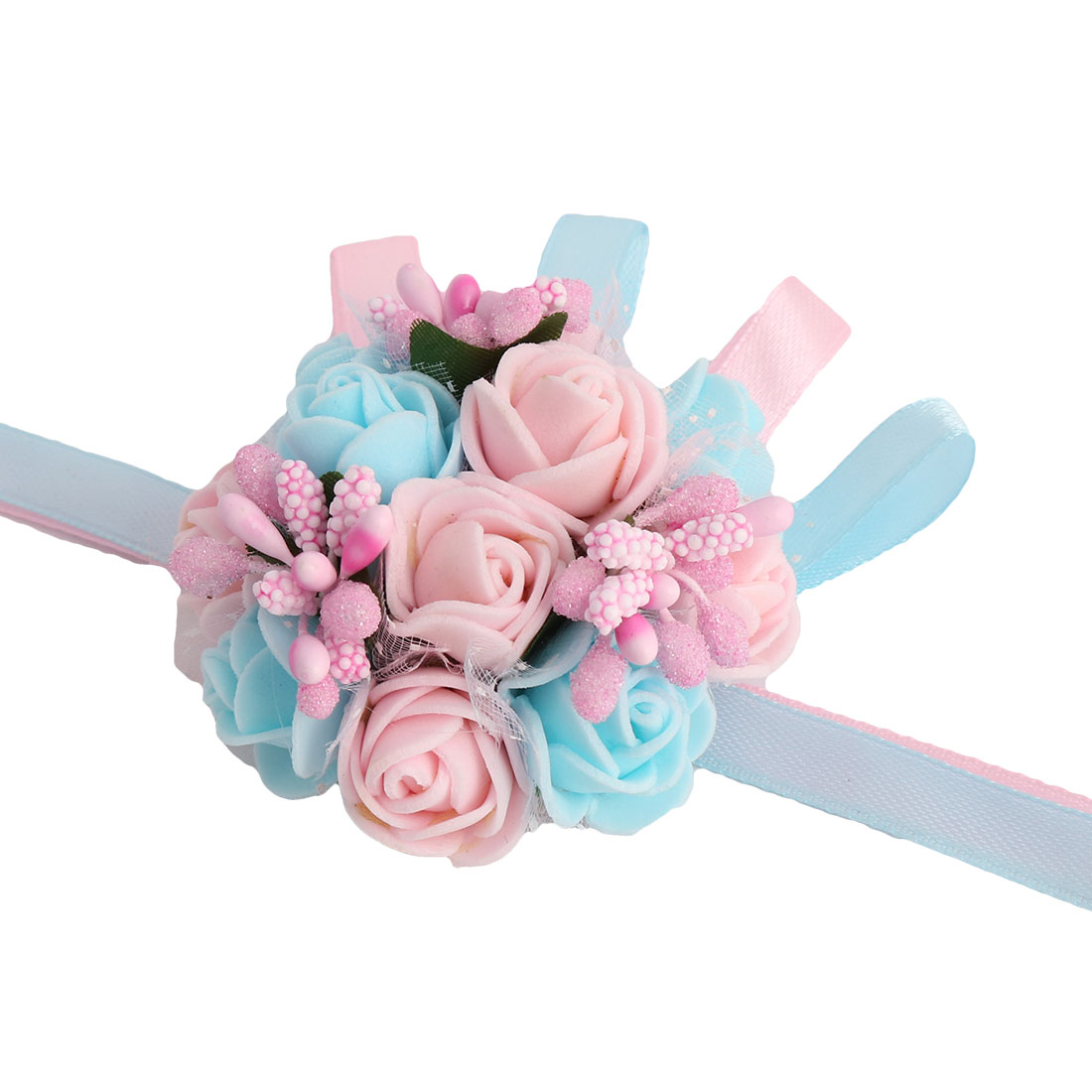 Party Prom Foam Rose Shaped Hand Corsage Decoration Artificial Wrist Flower
